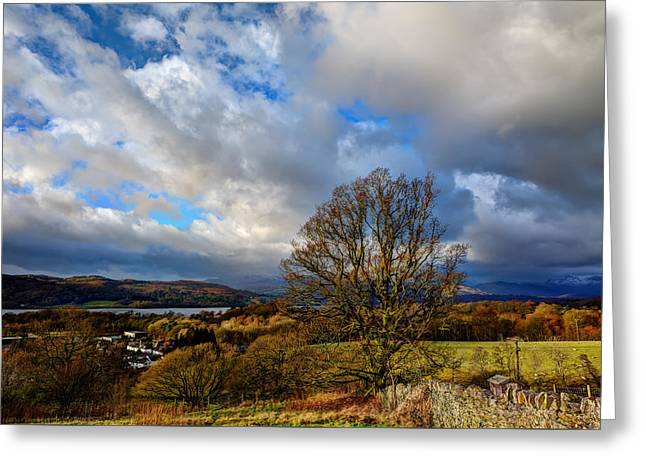 Winter Storm Greeting Cards - Lake Windermere Greeting Card by David Smith