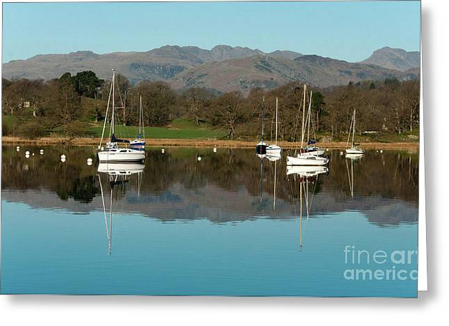 Lake Windermere Yachts Greeting Card by John D Hare