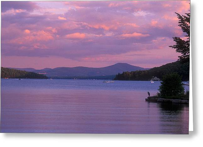 New Hampshire Greeting Cards - Lake Winnipesaukee Evening Greeting Card by John Burk