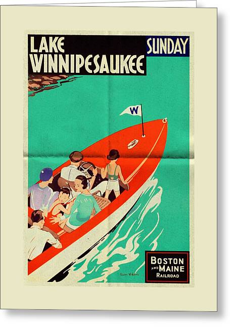 Maine Beach Mixed Media Greeting Cards - Lake Winnipesaukee - Folded Greeting Card by Vintage Advertising Posters