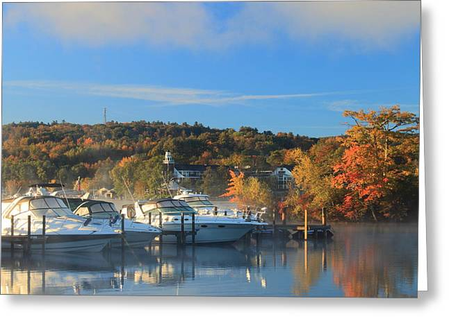 Lake Winnipesaukee Marina In Meredith Greeting Card by John Burk