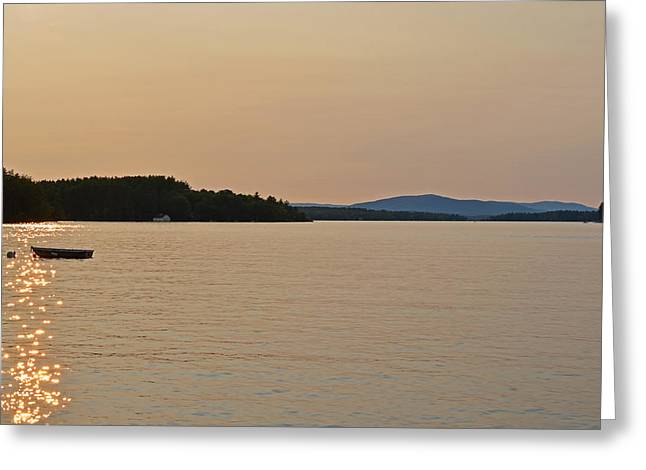 Row Boat Greeting Cards - Lake Winnipesaukee row boat sunset Greeting Card by Toby McGuire