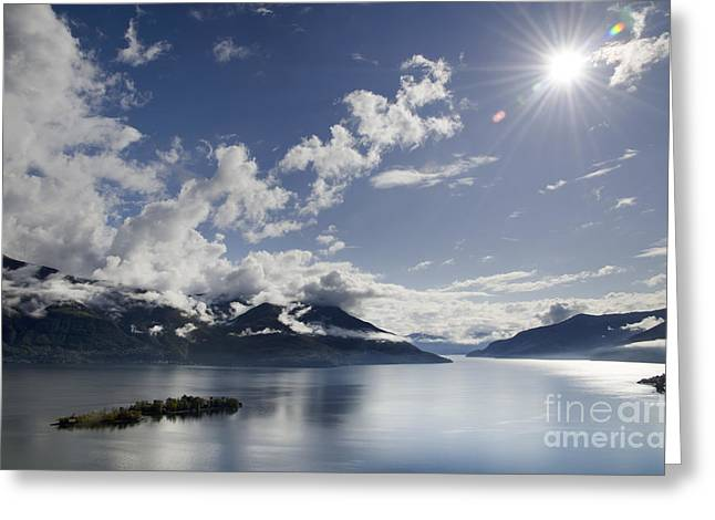 Swiss Photographs Greeting Cards - Lake with islands Greeting Card by Mats Silvan