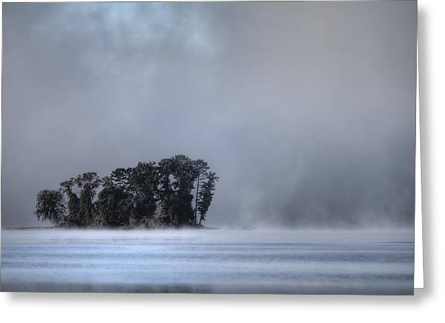 Lake Wylie Greeting Cards - Lake Wylie Foggy Morning Greeting Card by Dustin K Ryan