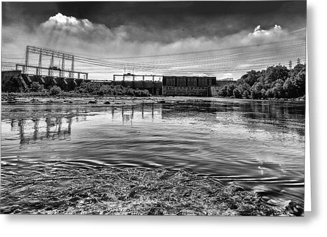 Lake Wylie Greeting Cards - Lake Wylie Hydro-electric Dam BW Greeting Card by Jim Dollar