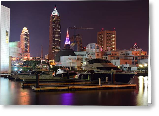 Town Square Greeting Cards - Lakefront Nightscape Greeting Card by Frozen in Time Fine Art Photography