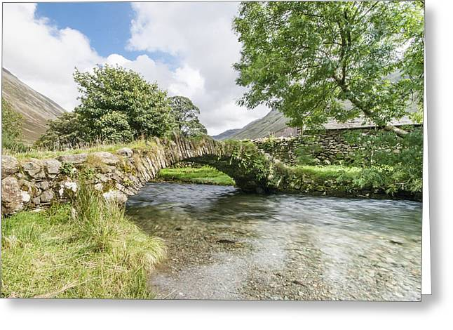 Reflections In River Greeting Cards - Lakeland Bridge Greeting Card by David Henderson