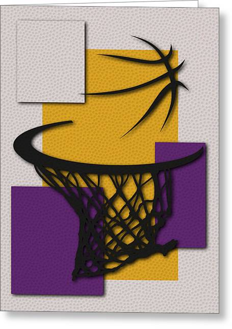 Los Angeles Lakers Greeting Cards - Lakers Hoop Greeting Card by Joe Hamilton