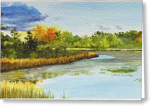 Lilly Pads Greeting Cards - Lakes Of Indianwood Greeting Card by Lauren Everett Finn