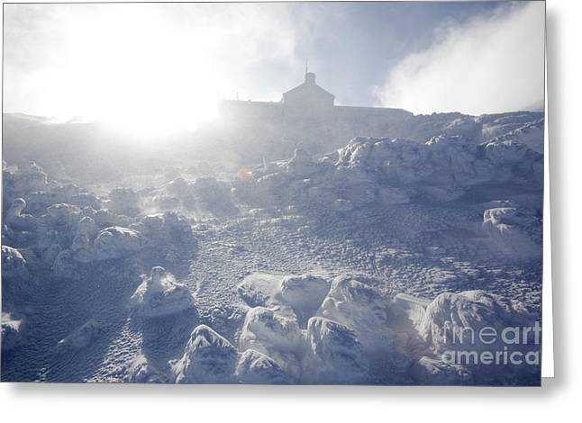 Blowing Snow Greeting Cards - Lakes of the Clouds Hut - White Mountains New Hampshire Greeting Card by Erin Paul Donovan