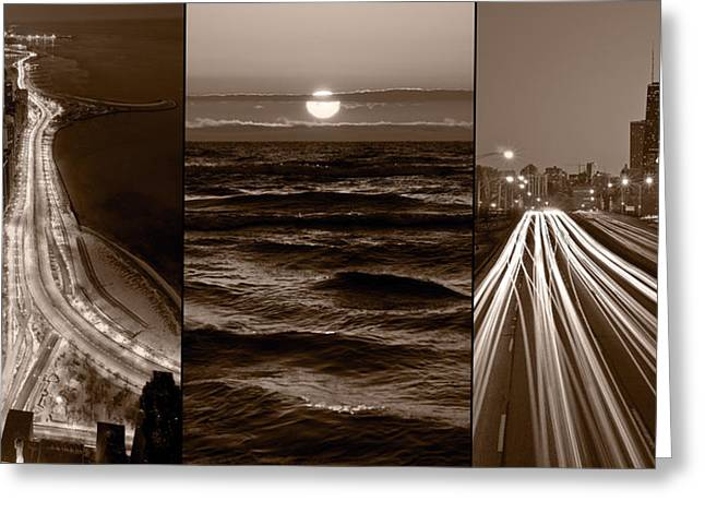Highway Lights Greeting Cards - Lakeshore Chicago Greeting Card by Steve Gadomski