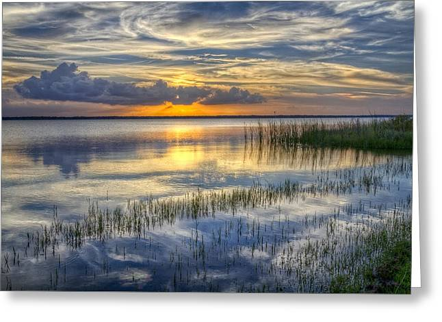 Boats In Water Greeting Cards - Lakeside at Sunset Greeting Card by Debra and Dave Vanderlaan