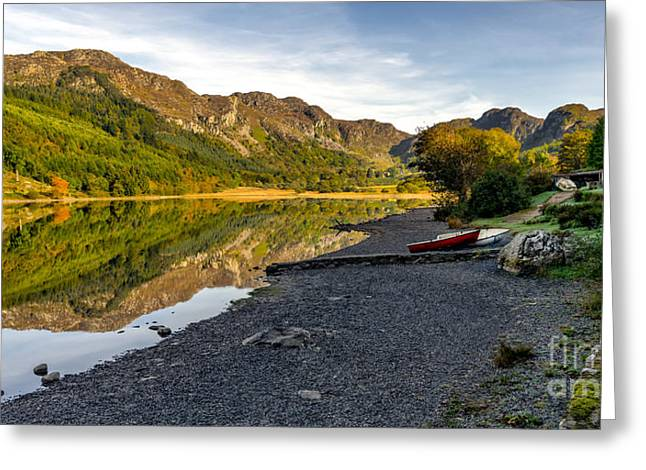 Lakes Digital Greeting Cards - Lakeside Autumn Greeting Card by Adrian Evans