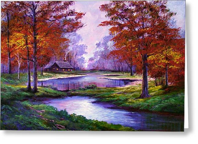 Most Popular Paintings Greeting Cards - Lakeside Cabin Greeting Card by David Lloyd Glover