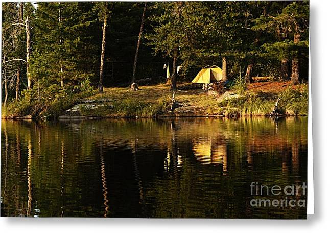 Lakeside Campsite Greeting Card by Larry Ricker