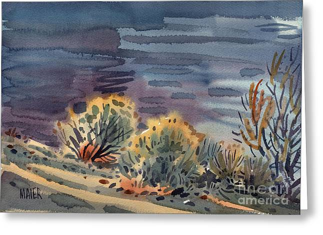 Sage Brush Greeting Cards - Lakeside Greeting Card by Donald Maier
