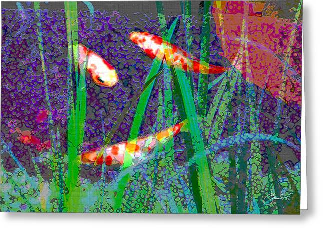 Decorative Fish Greeting Cards - Lakeside Koi Greeting Card by Judith Schmidt