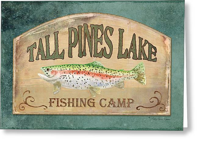 White River Mixed Media Greeting Cards - Lakeside Lodge - Fishing Camp Greeting Card by Audrey Jeanne Roberts