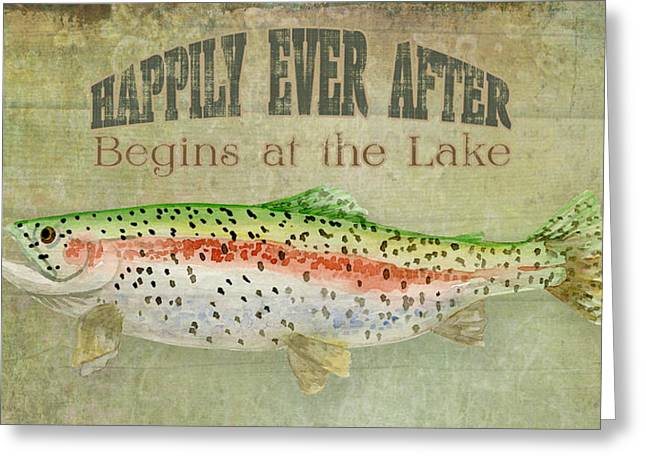"""rainbow Trout"" Greeting Cards - Lakeside Lodge - Happily Ever After Greeting Card by Audrey Jeanne Roberts"