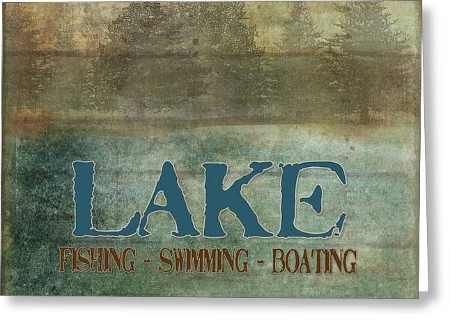 White River Mixed Media Greeting Cards - Lakeside Lodge - Lake Life Greeting Card by Audrey Jeanne Roberts