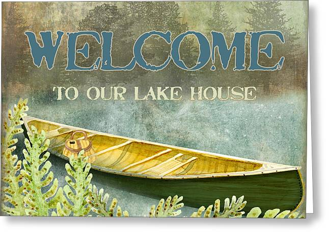 Lake House Mixed Media Greeting Cards - Lakeside Lodge - Welcome Sign Greeting Card by Audrey Jeanne Roberts