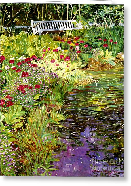 Lake Paintings Greeting Cards - Lakeside Sunbench Greeting Card by David Lloyd Glover