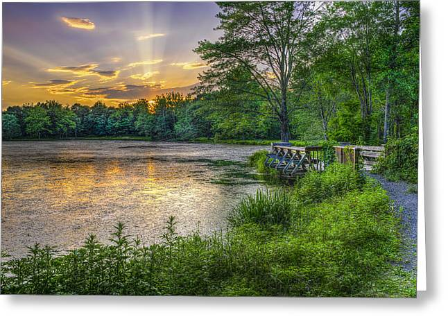 Reflection Of Sun In Clouds Greeting Cards - Lakeside Sunset  Bushkill Greeting Card by F. M. Kearney