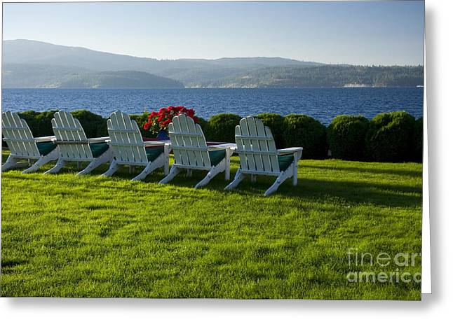 Lawn Chair Greeting Cards - Lakeside View Greeting Card by Idaho Scenic Images Linda Lantzy