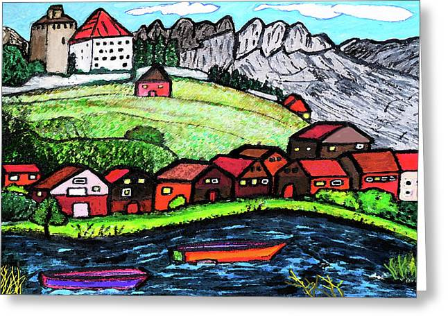Lakeside View Greeting Card by Monica Engeler