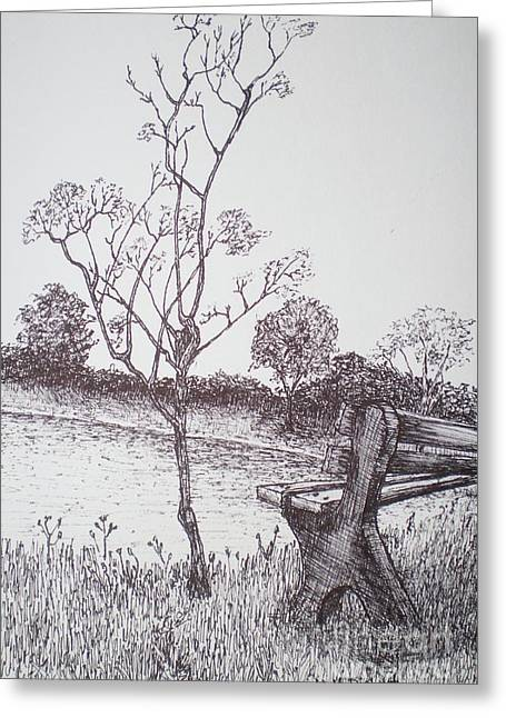 Park Benches Drawings Greeting Cards - Lakeside Greeting Card by William Dietrich