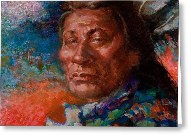 Lakota Man Greeting Card by Ellen Dreibelbis
