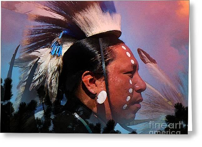 Western Culture Greeting Cards - Lakota Warrior Greeting Card by Terril Heilman