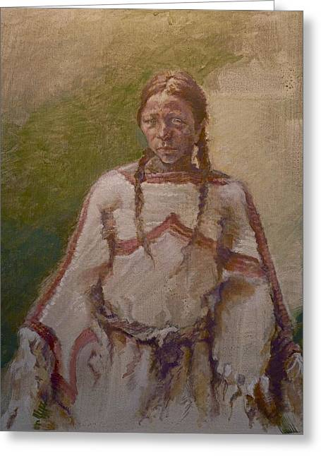 One Wnative American Greeting Cards - Lakota Woman Greeting Card by Ellen Dreibelbis