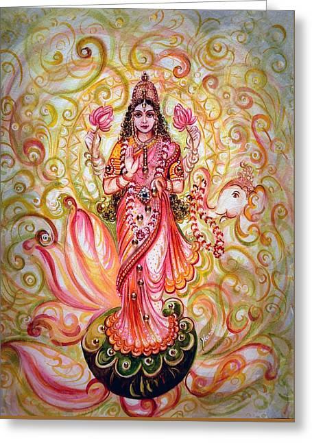 Hindu Goddess Greeting Cards - Lakshmi Darshanam Greeting Card by Harsh Malik