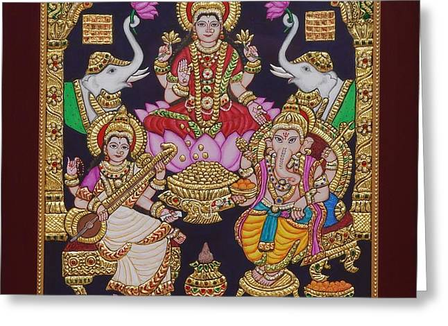 Hindu Goddess Paintings Greeting Cards - Lakshmi Ganesh Saraswati Greeting Card by Vimala Jajoo