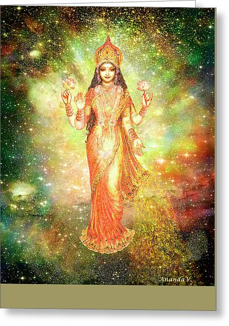 Goddess Durga Greeting Cards - Lakshmi in a Galaxy  Greeting Card by Ananda Vdovic