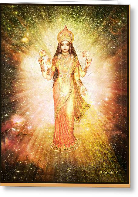 Lakshmi In A Galaxy, Radiating Pink Light Greeting Card by Ananda Vdovic