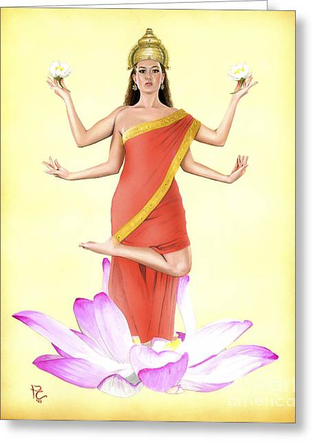 Hindu Goddess Greeting Cards - Lakshmi Greeting Card by Kevin Clark