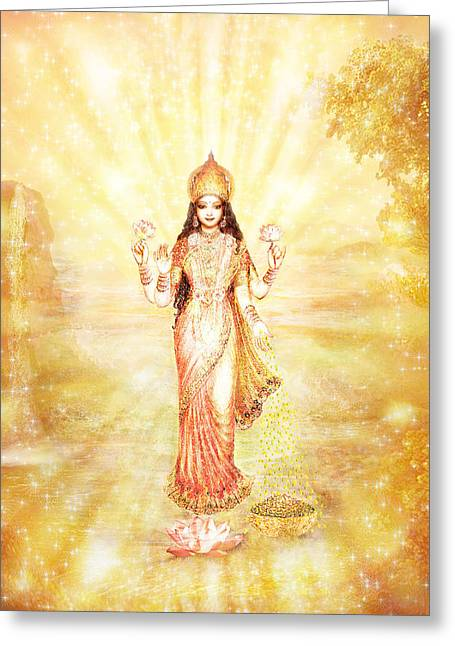 Goddess Art Greeting Cards - Lakshmi with the Waterfall - light Greeting Card by Ananda Vdovic