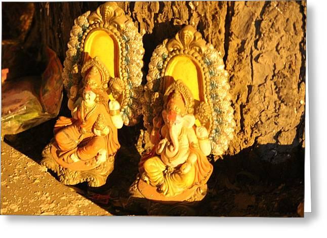 Lakshmi And Ganesha, Vrindavan Greeting Card by Jennifer Mazzucco