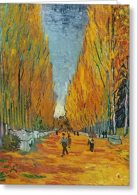 Tree Lines Greeting Cards - LAllee des Alyscamps  Arles Greeting Card by Vincent van Gogh