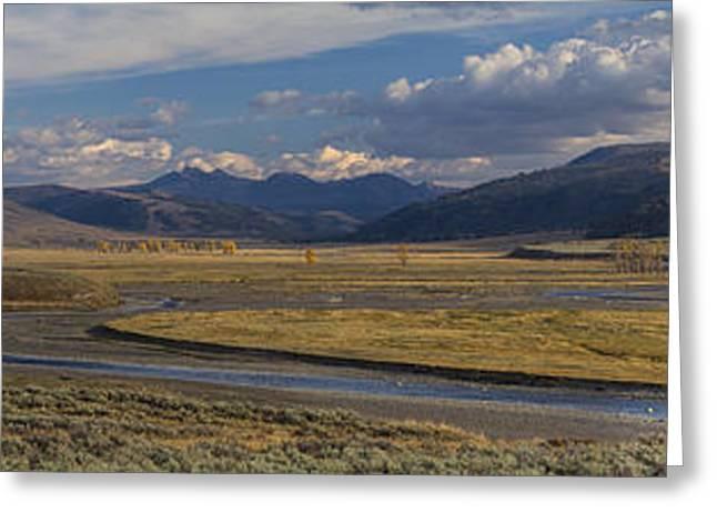 Yellowstone National Park Greeting Cards - Lamar Valley Panorama Greeting Card by Mark Kiver