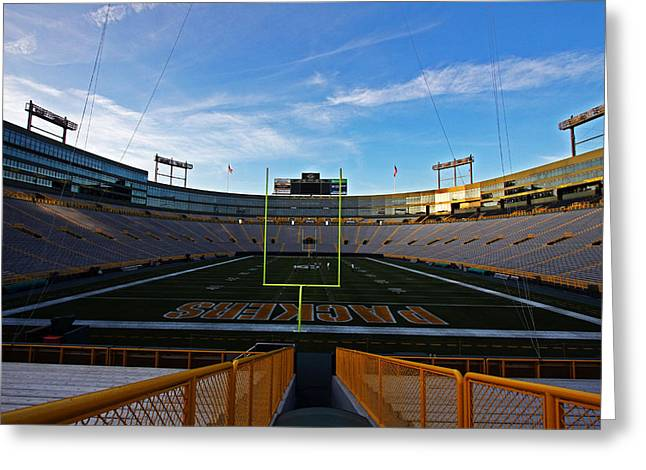 Lambeau Field Photographs Greeting Cards - Lambeau Endzone Two Greeting Card by Ty Helbach