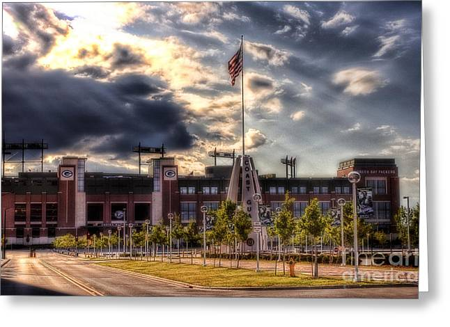 Tundra Greeting Cards - Lambeau Field Awakes Greeting Card by Joel Witmeyer