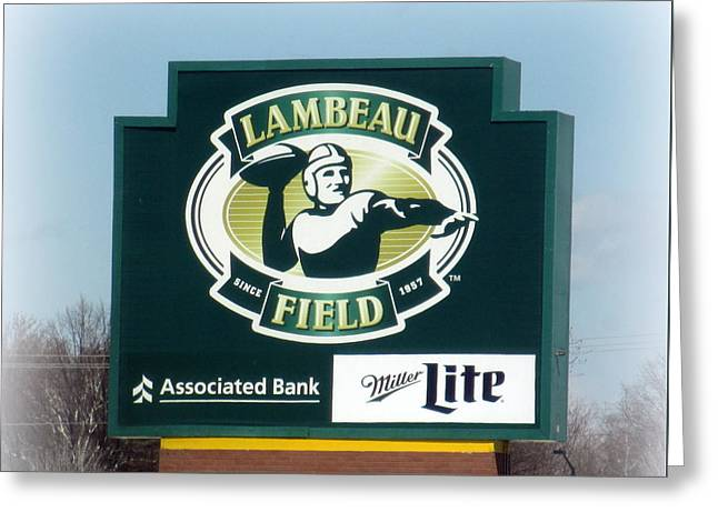 Greeting Cards - Lambeau Field Sign Greeting Card by Kay Novy