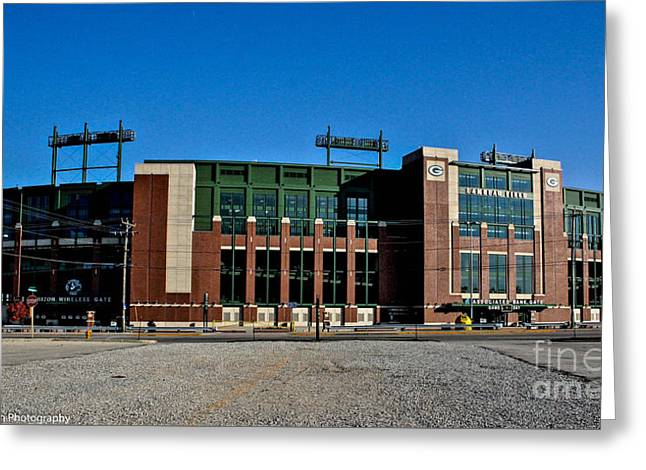 Lambeau Field Greeting Cards - Lambeau Field Stadium Greeting Card by Tommy Anderson