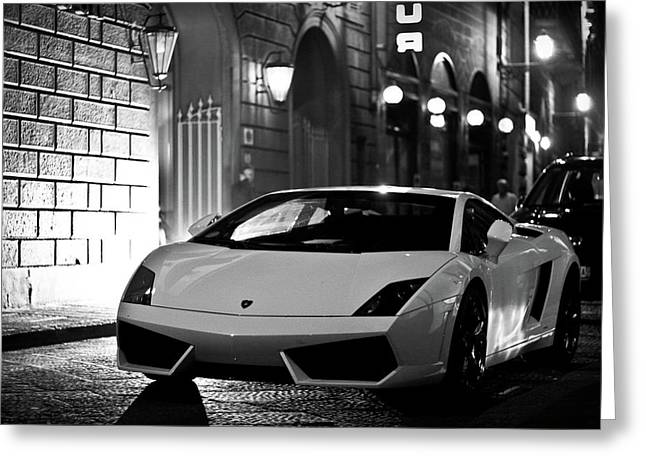 Lambo Noir Greeting Card by Patrick English
