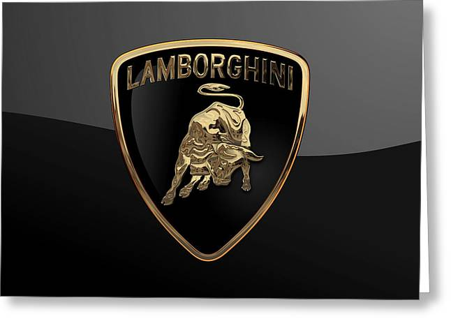 Lamborghini - 3d Badge On Black Greeting Card by Serge Averbukh