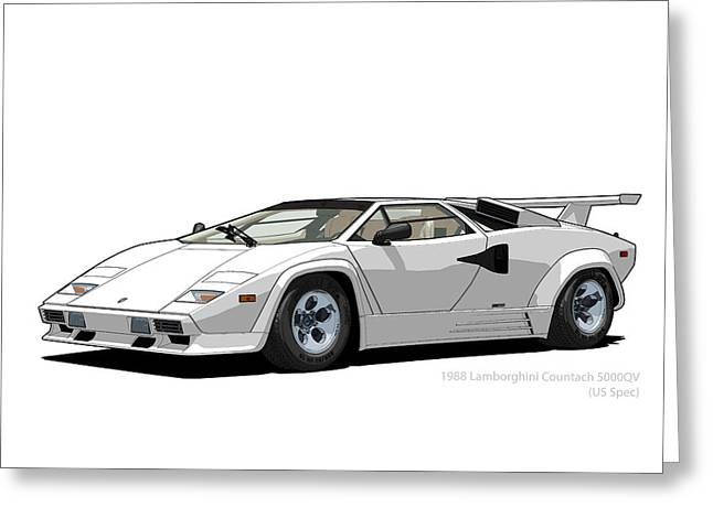 Technical Digital Art Greeting Cards - Lamborghini Countach 5000QV Bianco Polo Park US spec Greeting Card by DigitalCarArt