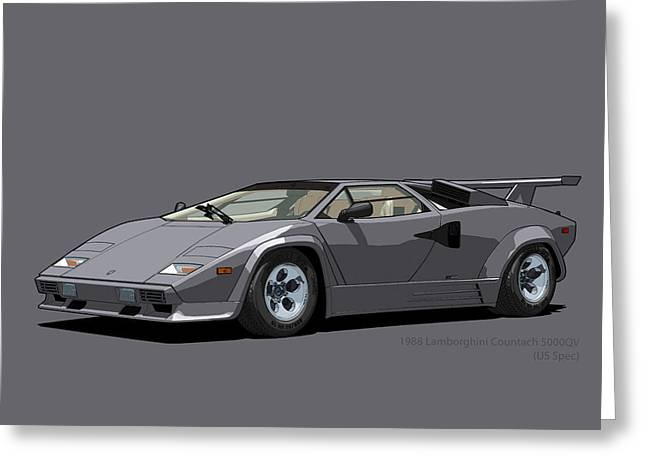 Technical Digital Art Greeting Cards - Lamborghini Countach 5000QV Canna di Fucile US spec Greeting Card by DigitalCarArt